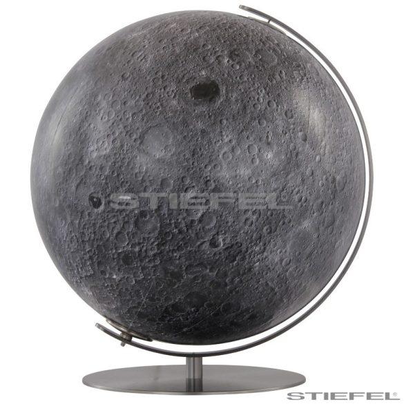 COLUMBUS világítós, asztali, akril, DUO földgömb, a HOLD, rozsdamentes acél talppal és meridiánnal Ø 40  cm
