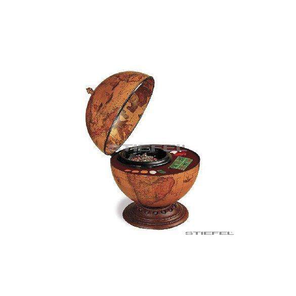 Földgömb barna asztali Plutone rulett készlettel (a gömb teteje oldalra nyitható) Ø 40  cm