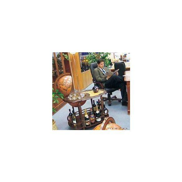 Bárföldgömb zsúrkocsi Giasone (a gömb teteje oldalra nyitható) barna Ø 40  cm