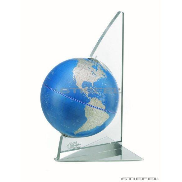 Földgömb asztali  A kék metál gömb plexi váz fém talp Ø 22  cm