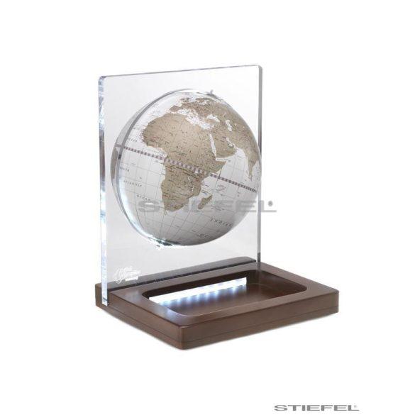 Földgömb asztali ARIA DESK fehér metál gömb fatalp plexi váz Ø 22  cm